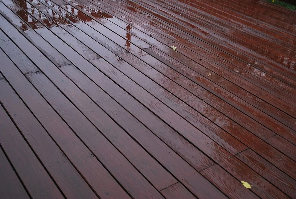 Deck being stained.